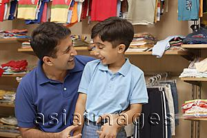 Asia Images Group - father and son in shop