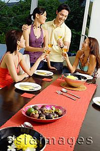 Asia Images Group - Young adults having dinner party, toasting with wine glasses