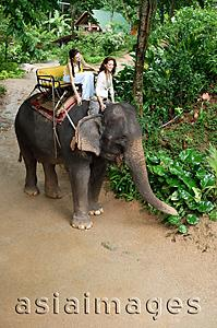 Asia Images Group - Two young women on an elephant in Phuket, Thailand