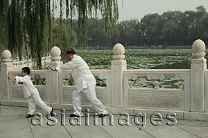 Asia Images Group - Older man and boy doing Tai Chi in park, Beijing, China