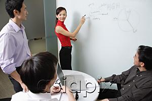 AsiaPix - Executives in meeting room, female executive writing on white board