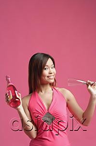 AsiaPix - Woman in pink dress, holding champagne bottle and champagne glass