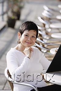 AsiaPix - Mature woman in cafe, holding a menu