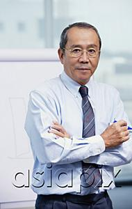AsiaPix - Businessman standing in front of flipchart, arms crossed